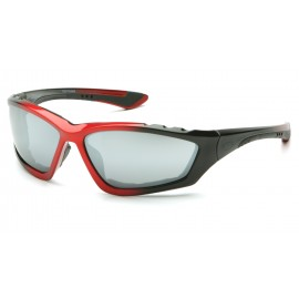 Pyramex  Accurist  Black/Red Padded Frame/Silver Mirror Lens  Safety Glasses  12/BX