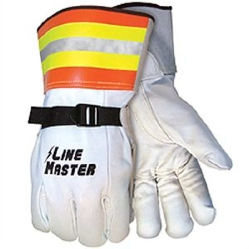 MCR LineMaster Goatskin Leather Cover Gloves with Nylon Pull Strap & Hi-Vis Gauntlet 12/Pairs