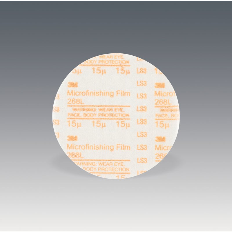3M™ Microfinishing PSA Film  Disc 268L, 1 in x NH, 15 Micron, Type D, Die 100N, 100 per inner 2000 per case