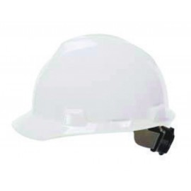 MSA Hard Hat V-Gard Slotted Cap, White, Fas-Trac III Suspension (1 EA)