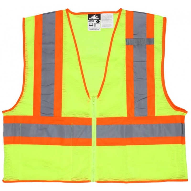 "MCR WCCL2LFR Safety Vest, Class 2, 4.5"" Limited Flammability, Lime"