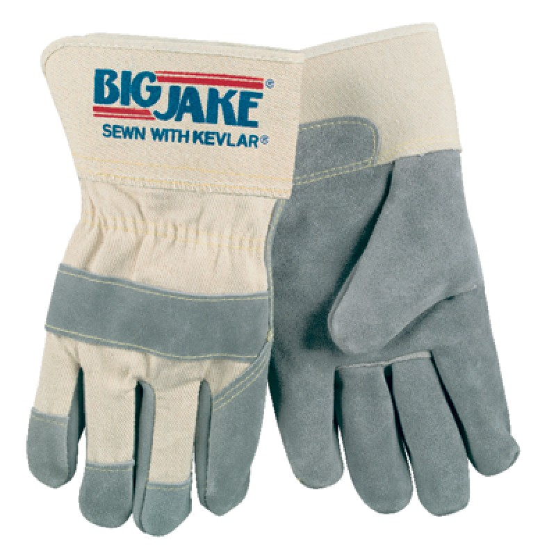 MCR 1700 Memphis Gloves Big Jake Leather Palm Gloves 1 Pair Gray Color
