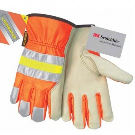 MCR 3211 Luminator™, Hi Vis Driver Glove, Grain Cow Palm, Orange Back Reflective Stripes  12 Pairs