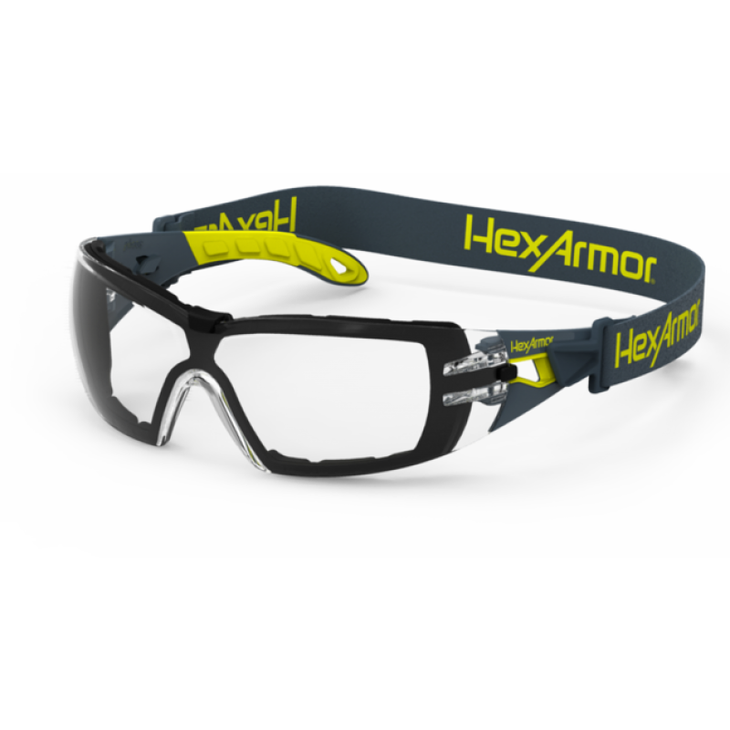 hexarmor mx200g dual action antifog safety glasses clear lens clear color