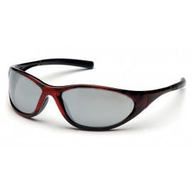 Pyramex Safety - Zone II - Red Wood Frame/Silver Mirror Lens Polycarbonate Safety Glasses - 12 / BX
