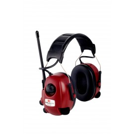 3M PELTOR WorkTunes Alert M2RX7A2-01 FM Headset with Active Mic, SNR 30, Black/Red