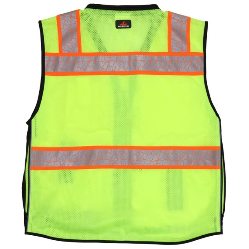MCR PSURVCL2LS Safety Vest, ANSI 107 Type R, Class 2 Solid Front Mesh Back