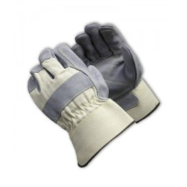 PIP 80-8855 Heavy Side Split Leather Double Palm Glove - Rubberized Safety Cuff 6/DZ