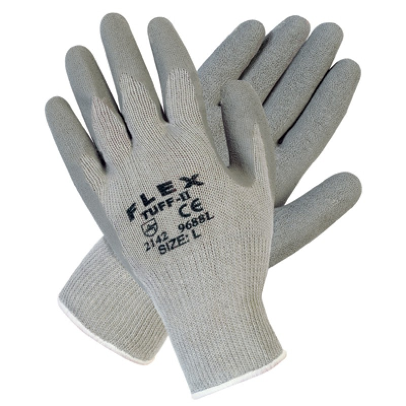 MCR 9688 Flex Tuff II Latex Coated Knit Glove Gray Color 1 Pair