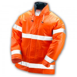 Tingley J42129.5X Electra Jacket Fluorescent Orange-Red Attached Hood Silver Reflective Tape