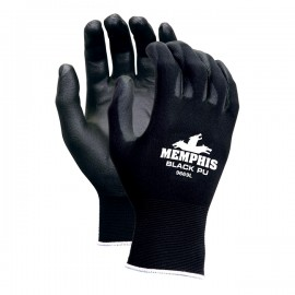 MCR Memphis™, 13 Gauge Black Polyester Shell,PU Palm & Fingers Color Black 1 Pair