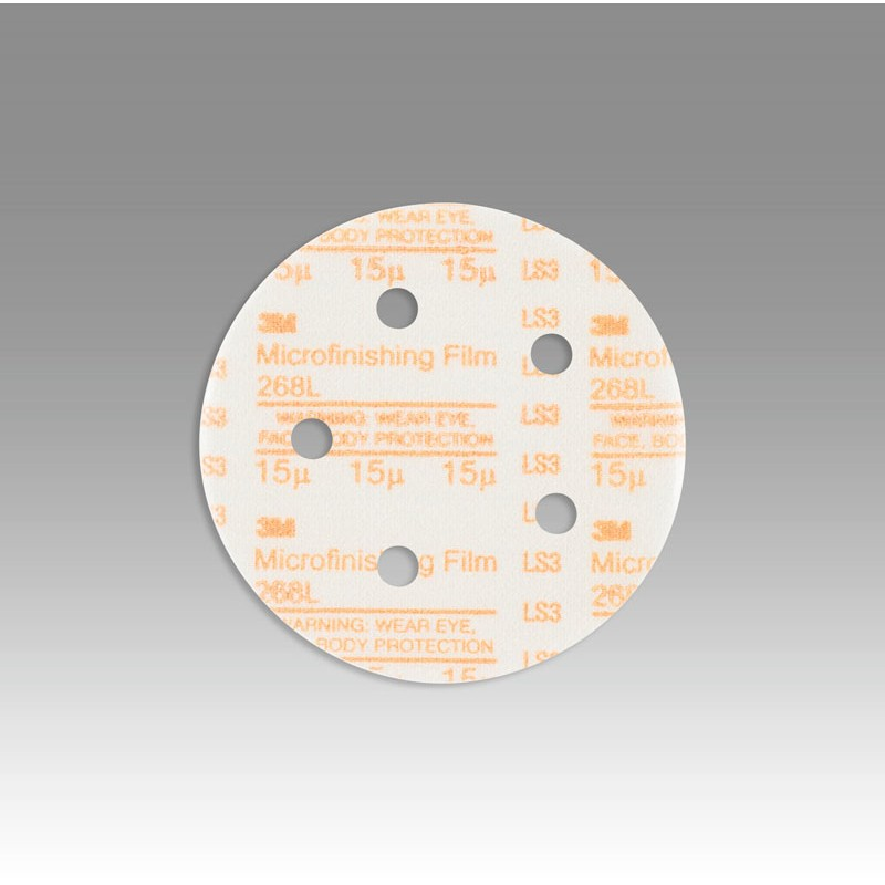3M™ Hookit™ Microfinishing Film Disc 268L, D/F, Type D, 5 in x NH 5 Holes 15 Micron, 500 per case