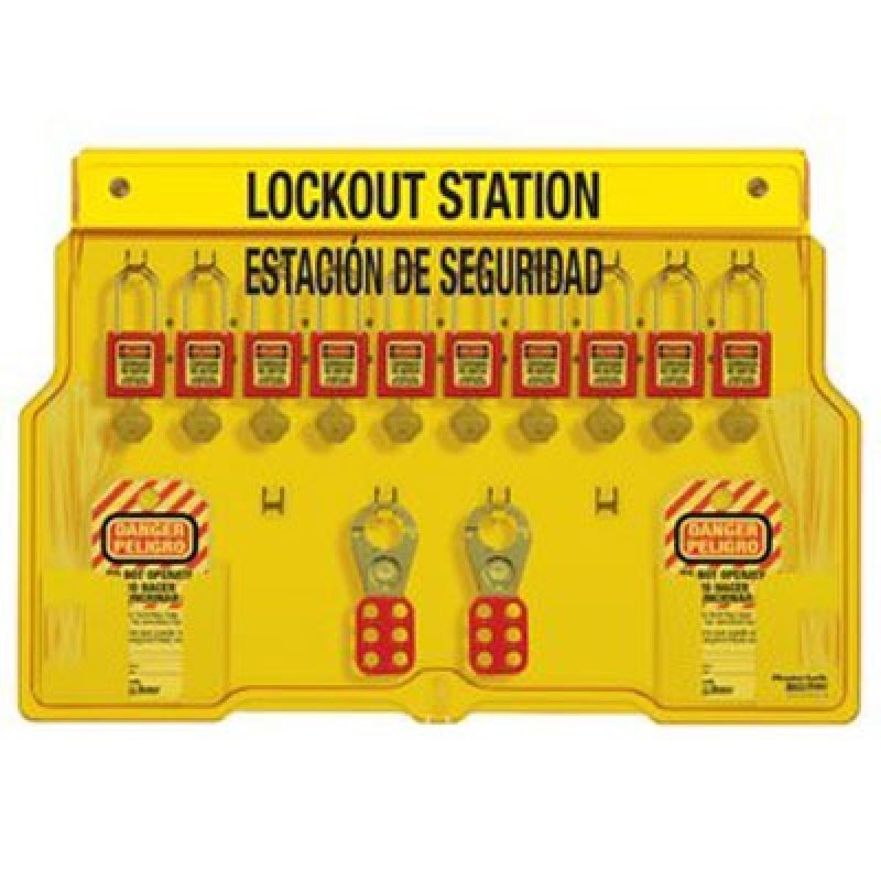 Masterlock English/Spanish Padlock Station - 10-Lock Station