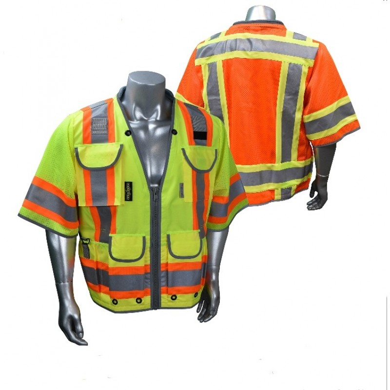 Radians SV55-3 Safety Vest - Class 3 - Two Tone Surveyor - Heavy Duty Solid Front Mesh Back (1 EA)