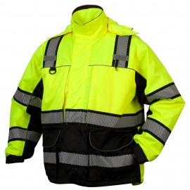 Pyramex RPB3610 RPB36 Series Class 3 Hi-Vis Lime Multi-Layer Parka