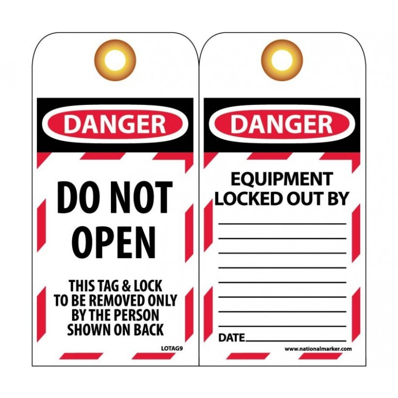 NMC LOTAG9-25 Danger Do Not Open This Tag 25/PK