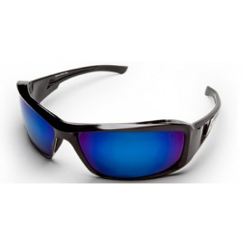 Edge Brazeau Safety Glasses with Black Frame and Blue Mirror Lens