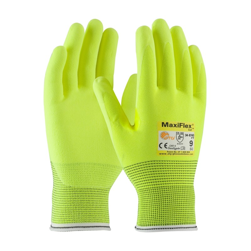 PIP 34-8743FY/M ATG Hi Vis Seamless Knit Engineered Yarn Glove with Premium Nitrile Coated MicroFoam Grip on Palm & Fingers Medium 6 DZ