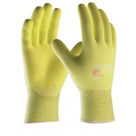 PIP 34-874FY/S ATG Hi Vis Seamless Knit Nylon / Lycra Glove with Nitrile Coated MicroFoam Grip on Palm & Fingers Small 12 DZ