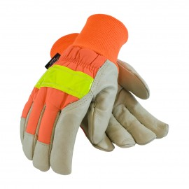 PIP® 125-448 Top Grain Pigskin Leather Palm Glove Hi-Vis Nylon Back and 3M™ Thinsulate™ Liner - Knitwrist  6/DZ