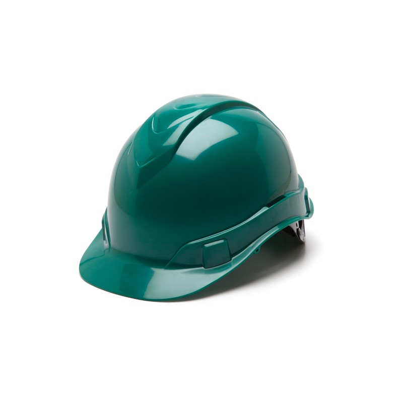 Pyramex Ridgeline Cap Style Hard Hat 4-Point Standard Glide Lock Green Color - 16 per Case