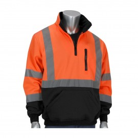 PIP 323 1330B Type R Class 3 1/4 Zip Pullover Sweatshirt HI VIZ Orange Black Bottom (1 EA)