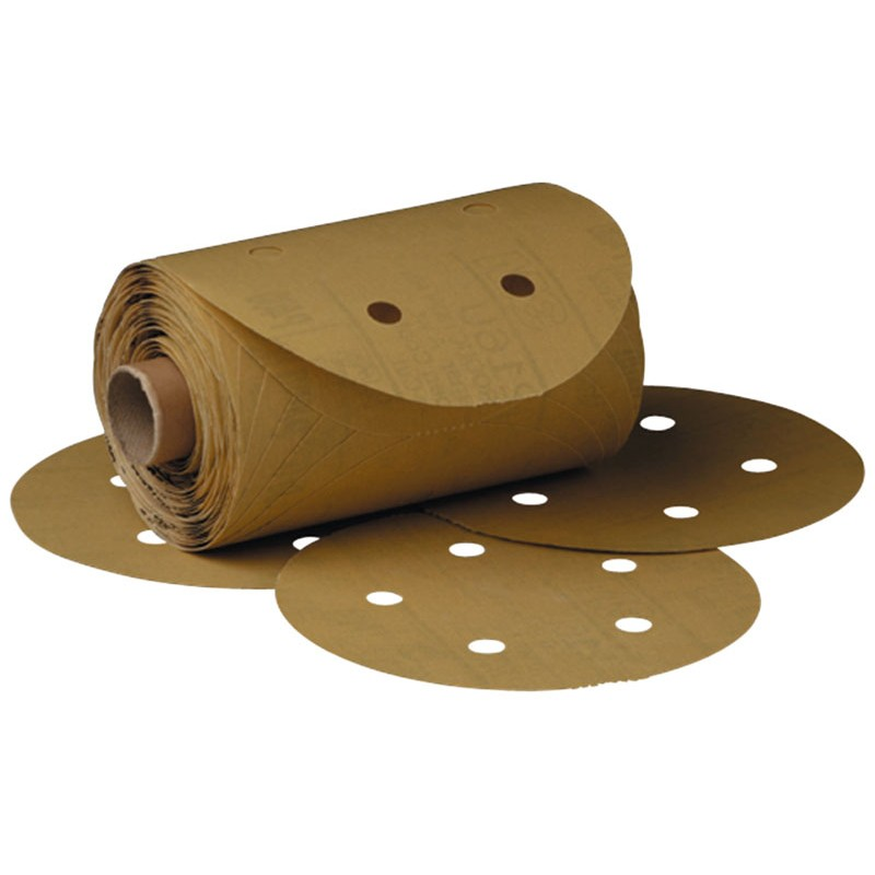 3M™ Stikit™ Gold Paper D/F Disc Roll 216U, 5 in x NH 5 Holes P180 A-weight, 175 discs per roll 6 rolls per case