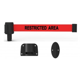 "Banner Stakes PL4113 PLUS Wall Mount System, Red ""Restricted Area"""