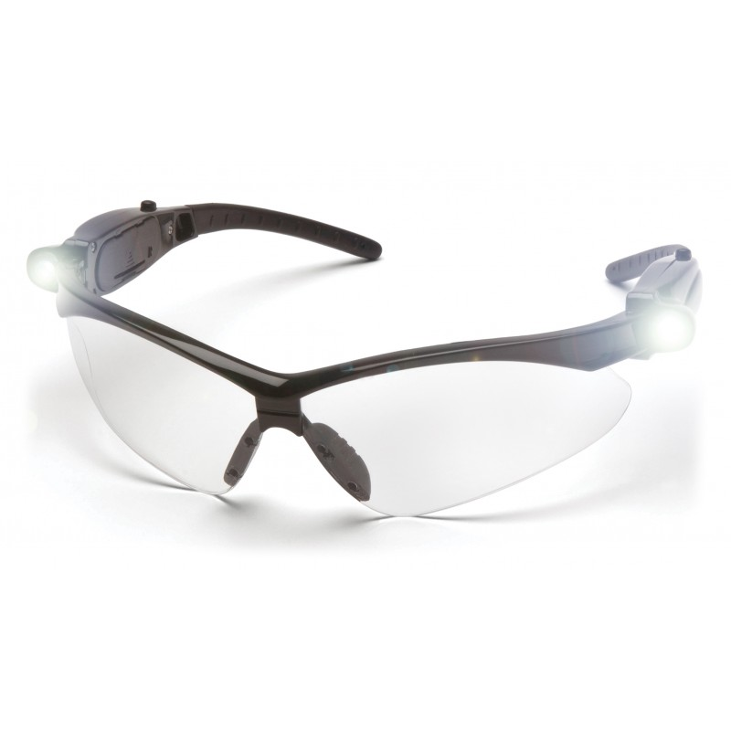 Pyramex Safety - PMXTREME - Black frame/Clear Anti-Fog Lens with LED Temples Polycarbonate Safety Glasses - 6 / BX