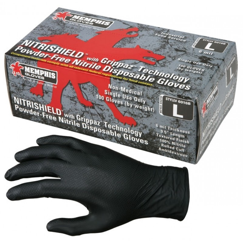 MCR Safety NitriShield 6 Mil Textured Disposable Nitrile Gloves  Grippaz Technology (10 Boxes Per Case)