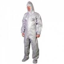 Tychem F Coveralls with Attached Respirator Fit Hood, Boots and Elastic Face/Wrists - Taped Seams