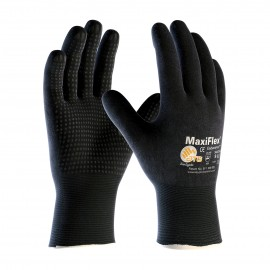 PIP 34-8745/L ATG Seamless Knit Nylon / Lycra Glove with Nitrile Coated MicroFoam Grip on Full Hand Micro Dot Palm Large 12 DZ