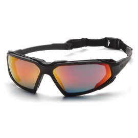Pyramex  Highlander  Black Frame/Sky Red Mirror AntiFog Lens  Safety Glasses  12/BX