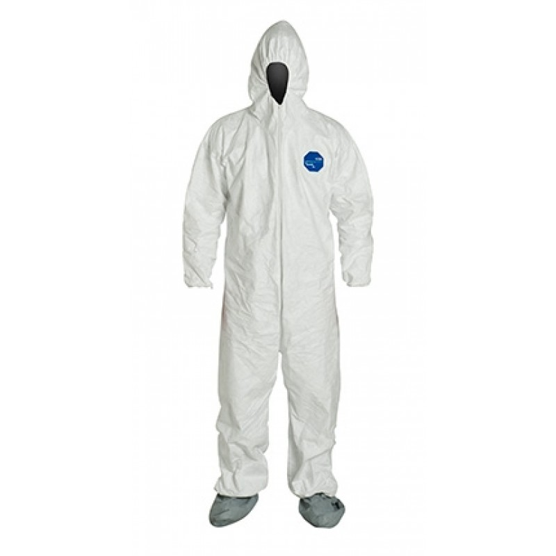 DuPont™ Tyvek TY122S White Coveralls - Attached Hood Boots and Elastic Wrists Serged Seams (1 EA)