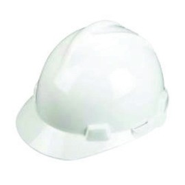 MSA 477482 White Polyethylene Cap Style Hard Hat With 4 Point Ratchet Suspension