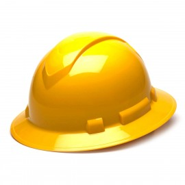 Pyramex Ridgeline Full Brim Hard Hat 4-Point Standard Ratchet Yellow Color - 12 per Case