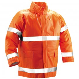 Tingley J53129.LG Comfort-Brite Jacket Fluorescent Orange-Red Attached Hood Silver Reflective Tape