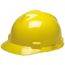 MSA Hard Hat V-Gard Slotted Cap, Yellow, Fas-Trac III Suspension (1 EA)