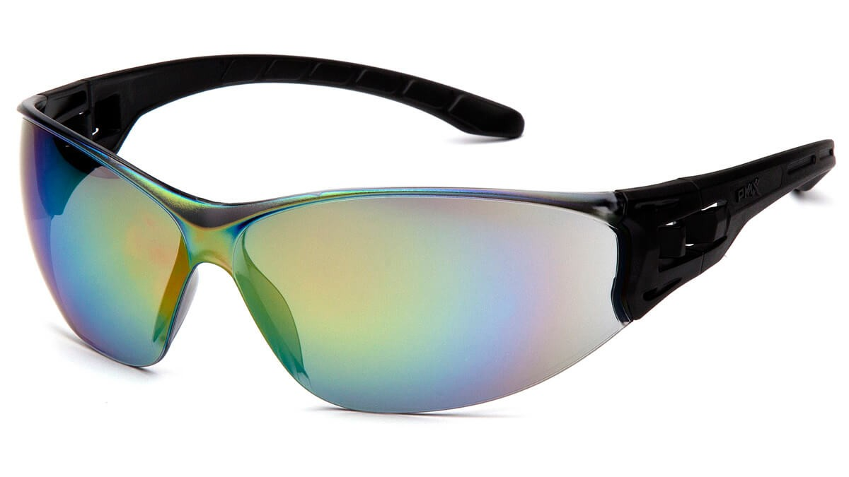 Colored Frame Safety Glasses : Pyramex Safety - Trulock - Black Frame/ Multi-Color Mirror ...
