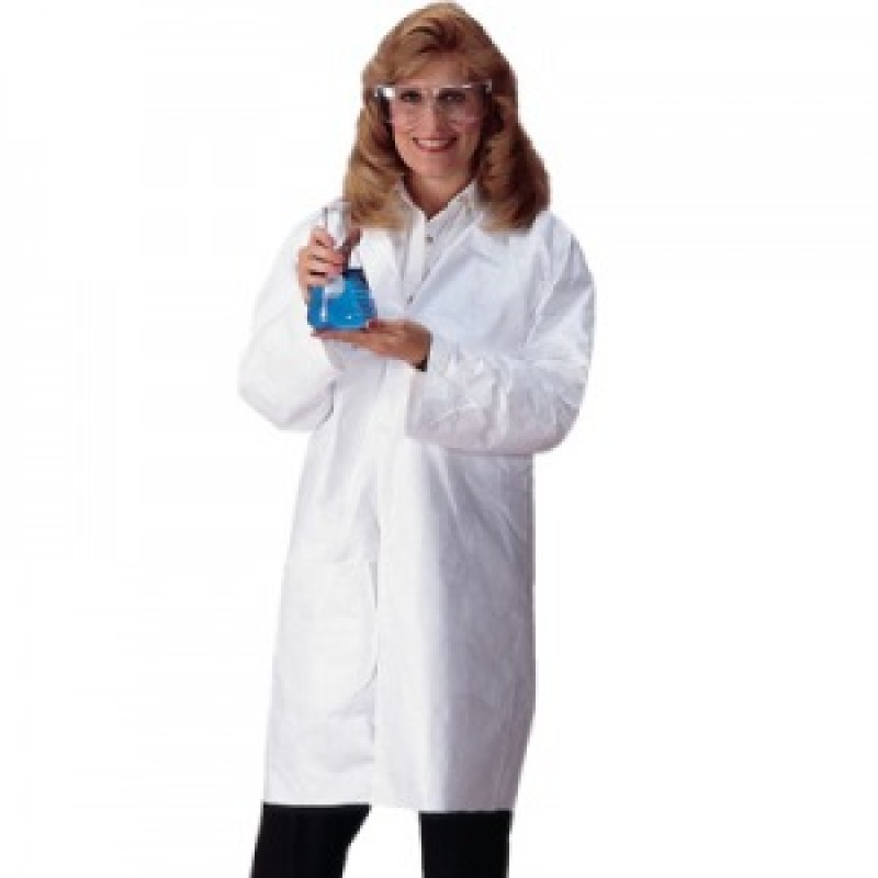 DuPont™ Tyvek Lab Coats with Snaps - Serged Seams Color White 30/Case
