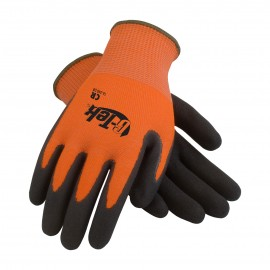 PIP 16-340OR/S G-Tek Hi Vis Seamless Knit PolyKor Blended Glove with Double Dipped Nitrile Coated MicroSurface Grip on Palm & Fingers Small 6 DZ