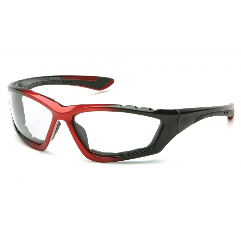 Pyramex  Accurist  Black/Red Padded Frame/Clear AntiFog Lens  Safety Glasses  12/BX