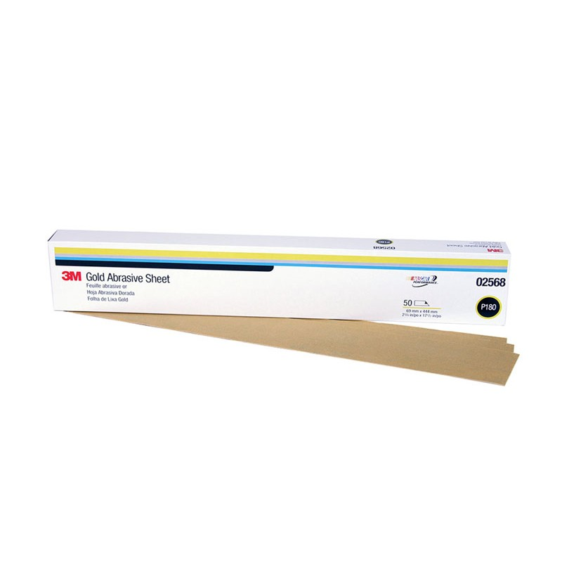 3M™ Gold Abrasive Sheet, 02568, P180 grade, 2 3/4 in x 17 1/2 in, 50 sheets per sleeve, 5 sleeves per case