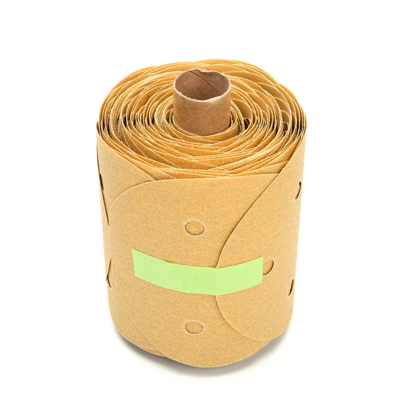 3M™ Stikit™ Gold Paper Disc Roll 216U, 5 in x NH 5 Holes P100 A-weight, D/F, Die 500FH, 125 discs per roll 10 rolls per case