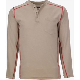 Lakeland HSAT High Performance FR Long Sleeve Henley Khaki