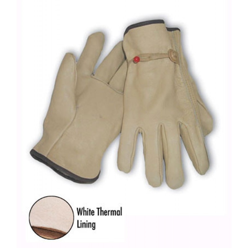 Regular Grade Top Grain Leather White Thermal Lined Glove - Pull Strap Closure