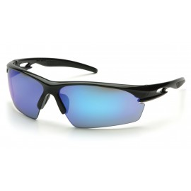 Pyramex  Ionix  Black Frame/Ice Blue Mirror Lens  Safety Glasses  12/BX