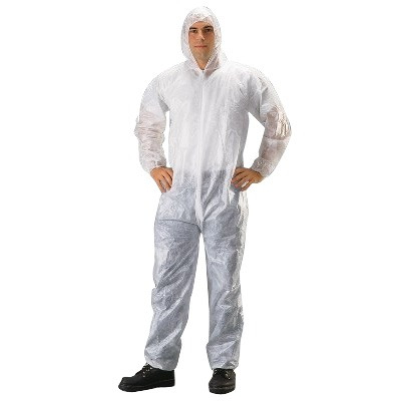 Malt Industries 1430 PE-Coated Coverall with Hood, Elastic Wrist & Ankles