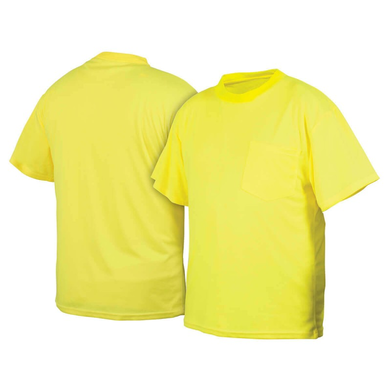 Pyramex rts2110nsx4 hi vis lime t shirt no reflective tape for Hi vis shirts with reflective tape