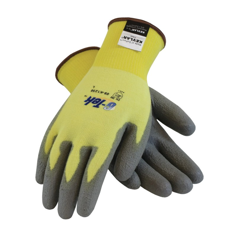 PIP 09-K1250V/S G-Tek Seamless Knit Kevlar® / Lycra Glove with Polyurethane Coated Smooth Grip on Palm & Fingers Vend Ready Small 144 PR